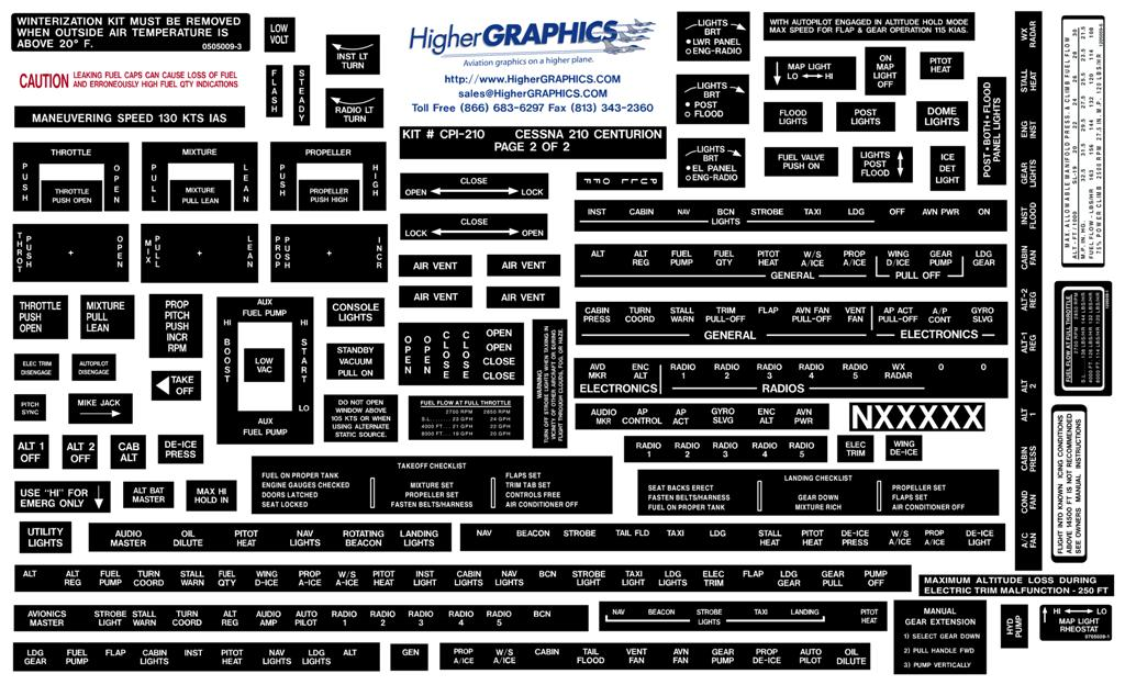 Cessna 210 Series Premium Interior Decals (2)