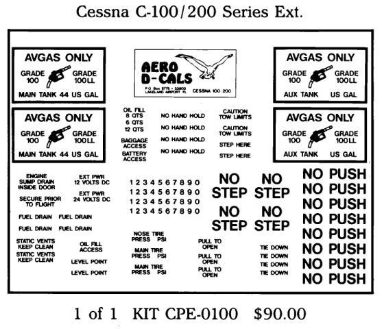 Cessna C-100/200 Series Exterior Decals (1)