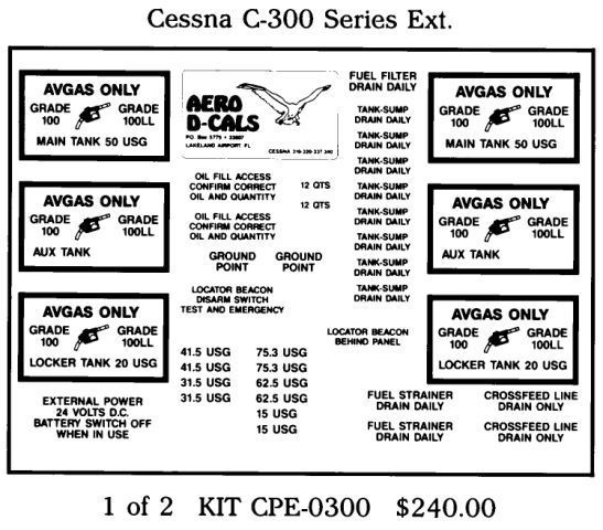 Cessna C-300 Series Exterior Decals (2)