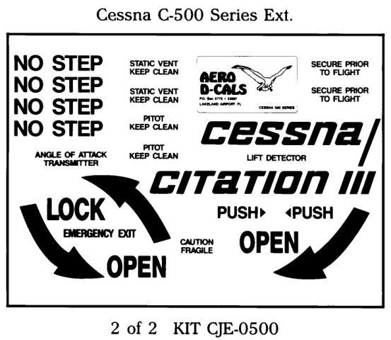 Cessna C 500 Series Exterior Decals (2)