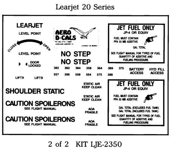 Learjet 20 Series Exterior Decals (2)
