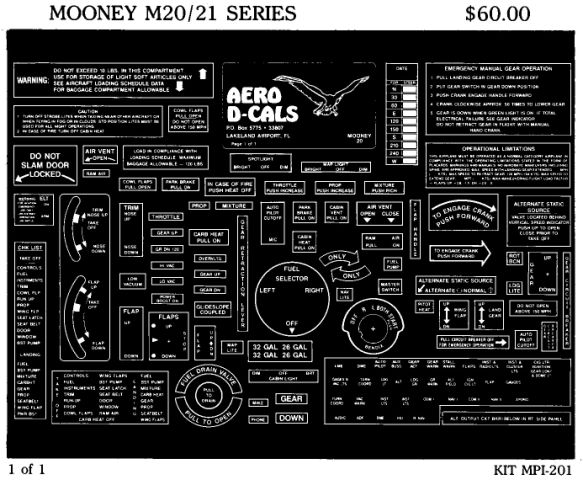Mooney M20/21 Series Economy Interior Decals (1)