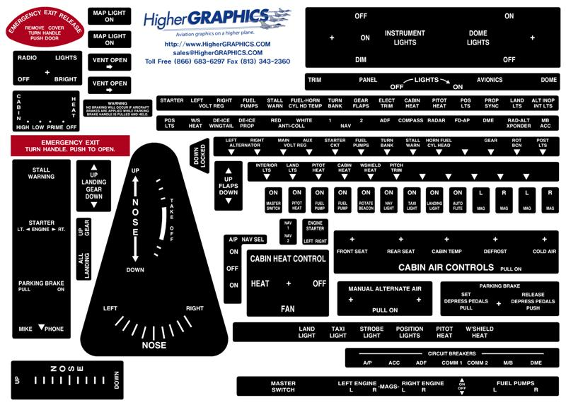 Piper PA-23 Aztec Premium Interior Decals (2)