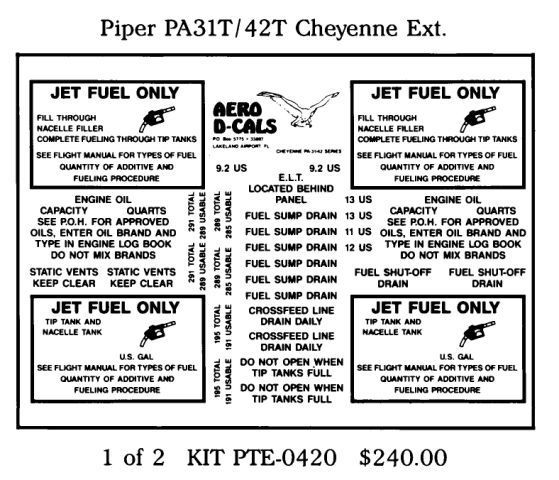 Piper PA31T/42T Cheyenne Series Exterior Decals (2)