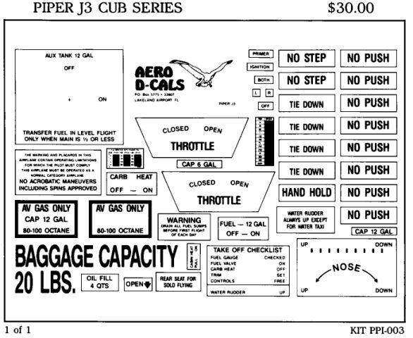 Piper J3 Cub Series Interior Decals (1)