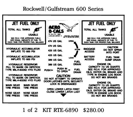 Rockwell/Gulfstream 600/800/900 Series Exterior Decals (2)