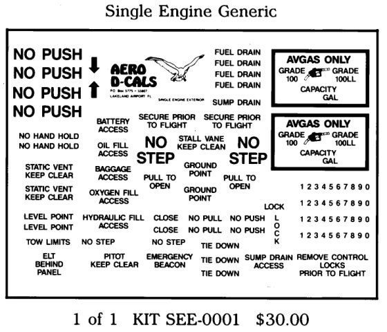 Single Engine Generic Exterior Decals Group A (1)