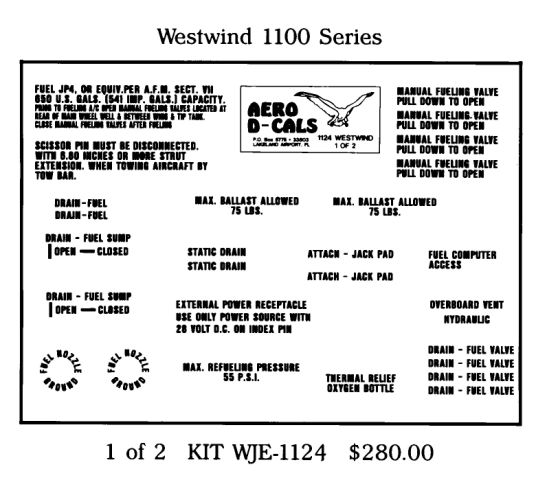 Westwind 1100 Series Exterior Decals (2)