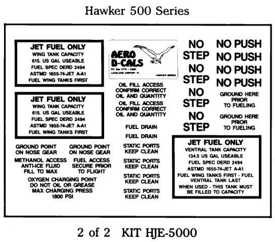 Hawker 500 Series Exterior Decals (2)