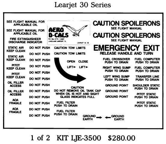 Learjet 30 Series Exterior Decals (2)