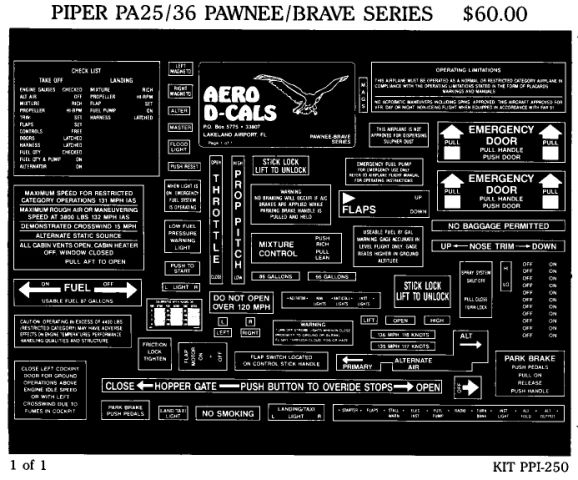 Piper PA25/36 Pawnee/Brave Series Interior Decals (1)