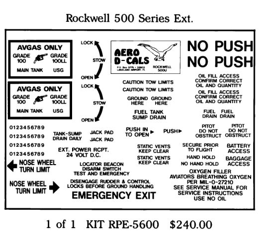 Rockwell 500 Series Exterior Decals (1)